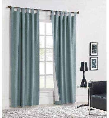 Commonwealth Home Fashions Weathermate 95-Inch Tab Top Window Curtain Panel Pair in Teal
