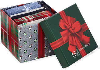 Neiman Marcus Holiday Penguin 4-Pack Printed Socks Gift Box