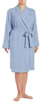 Lord & Taylor Plus Long Waffle-Knit Robe