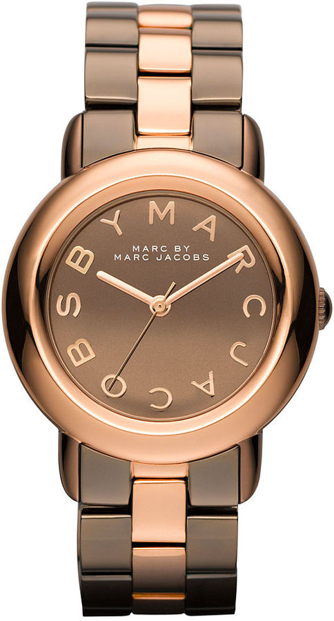 Marc by Marc Jacobs Watch, Women's Brown and Rose Gold Ion Plated Stainless Steel Bracelet 36mm MBM3171