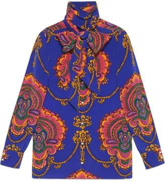 Gucci 70s graphic print silk shirt