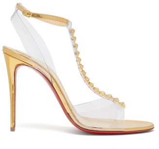 Christian Louboutin Jamais 100 Studded Mirrored Leather Sandals - Womens - Gold