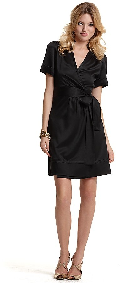 """Diane von Furstenberg Rasmus"""" Stretch Crepe Satin Wrap Dress"""