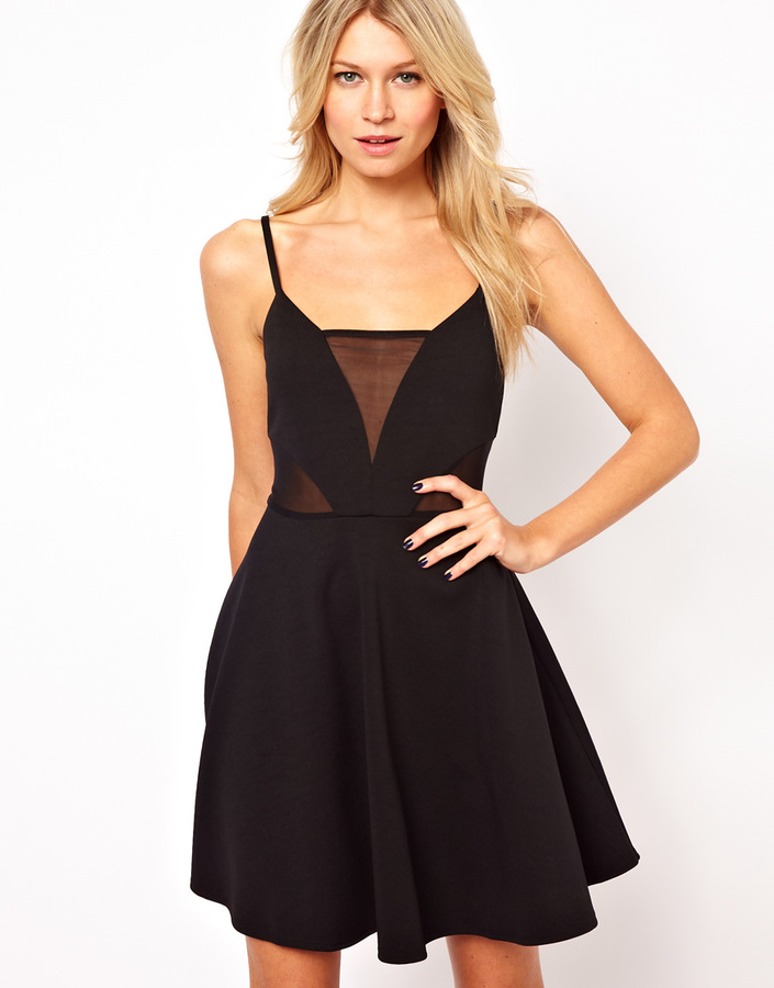 Asos Cami Skater With Mesh Inserts Dress