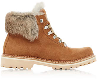 Montelliana Fur-Trimmed Suede Lace-Up Boots