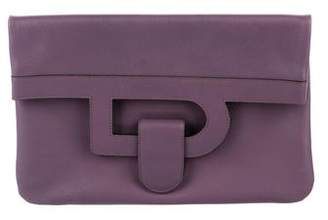 Delvaux Leather Foldover Clutch