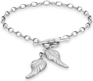 Tuscany Silver Sterling Angle Wings Charms T Bar Bracelet Of 19cm 7 5