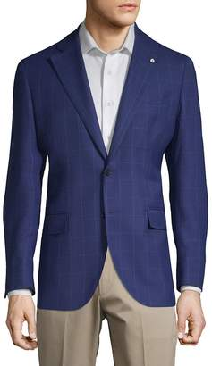 Lubiam Men's Windowpane Wool Jacket