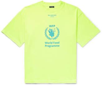 Balenciaga + The World Food Programme Oversized Logo-Print Cotton-Jersey T-Shirt