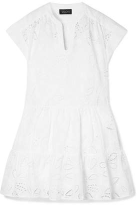 Saloni Ashley Broderie Anglaise Cotton Mini Dress - White