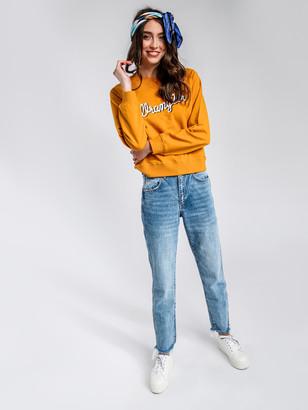 Wrangler Drew Mid Rise Straight Jeans in Bang Bang Blue Denim