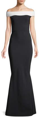 Chiara Boni Lustinette Colorblock Off-the-Shoulder Gown