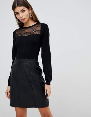 Lipsy 2 in 1 lace detail dress with faux leather skirt in black