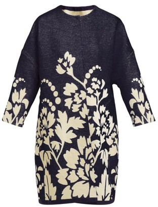 Märit Ilison - Reversible Floral Intarsia Cotton Coat - Womens - Navy Multi
