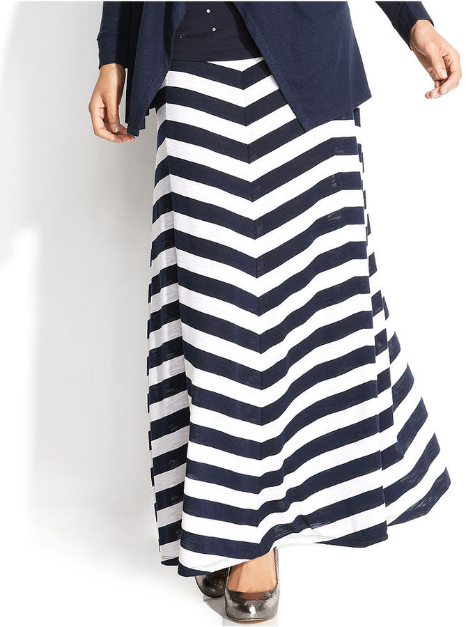 INC International Concepts Petite Paneled Chevron-Striped Maxi Skirt