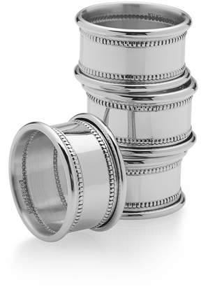 Empire SilverTM Set of 4 Beaded Pewter Napkin Rings