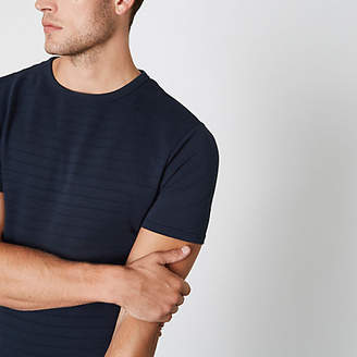 River Island Mens Navy muscle fit short sleeve T-shirt