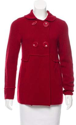 Magaschoni Wool Rib Knit Cardigan