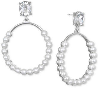 Badgley Mischka Silver-Tone Imitation Pearl & Crystal Drop Earrings