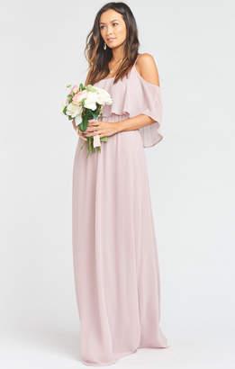 Show Me Your Mumu Caitlin Ruffle Maxi Dress ~ Neutral Mauve Chiffon