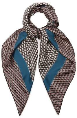 Bottega Veneta Butterfly Print Silk Scarf - Womens - Blue