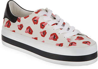Alice + Olivia Ezra Printed Canvas Lace-Up Platform Low-Top Sneaker