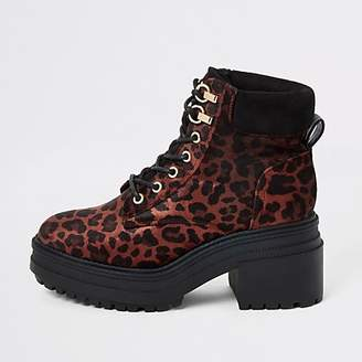 River Island Red leopard print lace-up chunky boots