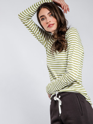 Nude Lucy Ava Long Sleeve Top in Olive Green White Stripe