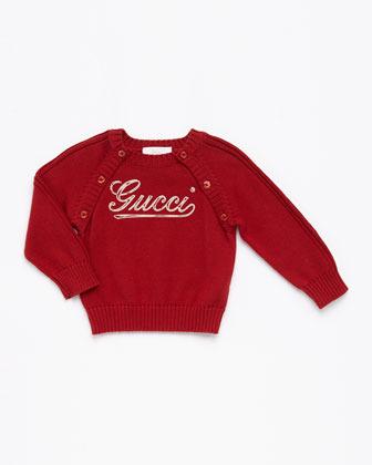 Gucci Crewneck Logo Sweater, Red/Beige