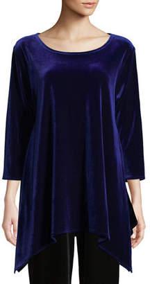 Caroline Rose 3/4-Sleeve Stretch Velvet Swing Tunic, Plus Size