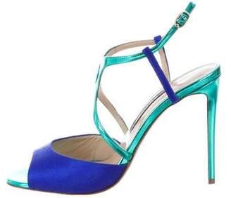 Zac Posen Embossed Metallic Sandals