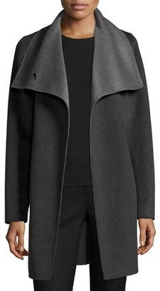 Elie Tahari Oversized Two-Tone Belted Wool Coat, Charcoal/Gray $300 thestylecure.com