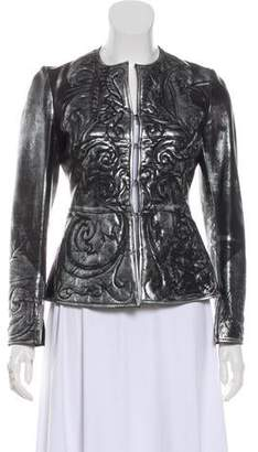 Rozae Nichols Leather Metallic Jacket