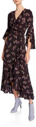 Max Studio Floral Print Ruffle-Trim Wrap Dress