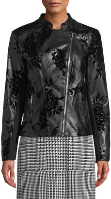 Iconic American Designer Floral Velvet-Embossed Faux-Leather Moto Jacket