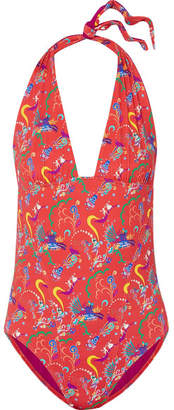 Etro Printed Halterneck Swimsuit - Red