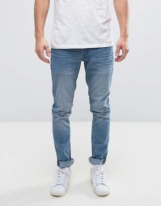 Solid Slim Jeans In Light Blue Wash