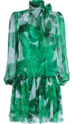 Dolce & Gabbana Pussy-Bow Printed Silk-Chiffon Dress