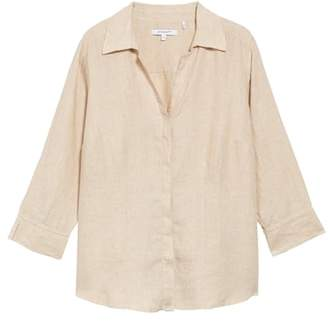 Foxcroft Taylor Three Quarter Sleeve Linen Shirt