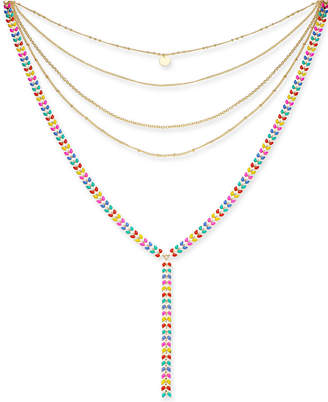 "INC International Concepts I.n.c. Gold-Tone Colored Stone Multi-Row Y Necklace, 12"" + 3"" extender, Created for Macy's"