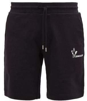 Moncler Logo Print Cotton Jersey Sweat Shorts - Mens - Navy