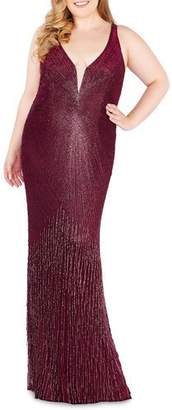 Mac Duggal Deep V-Neck Illusion Sleeveless Fringe Beaded Column Gown, Plus Size