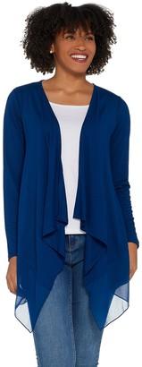 Joan Rivers Classics Collection Joan Rivers Jersey Knit and Chiffon Draped Cardigan