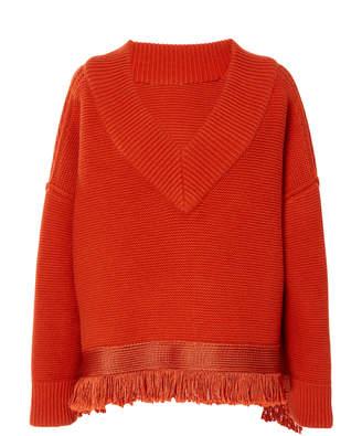 Oscar de la Renta Fringe-Trimmed Cotton-Blend Sweater