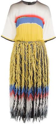 Marco De Vincenzo Fringed Silk Dress