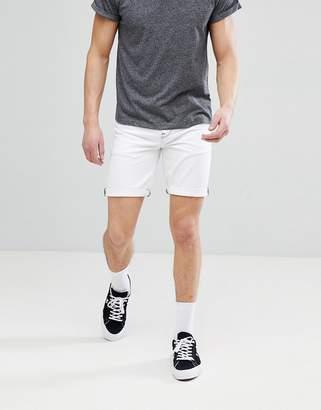 Asos Design DESIGN Denim Shorts In Slim White Contrast Stitch