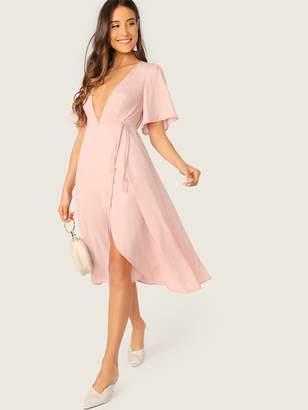 bdbc3c53b2 Shein Plunge Neck Bell Sleeve Wrap Dress