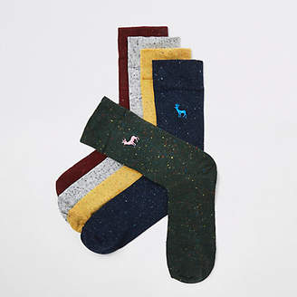 River Island Black stag embroidered socks multipack