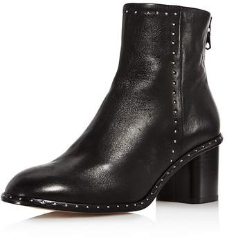Rag & Bone Women's Willow Round Toe Studded Leather Mid-Heel Booties