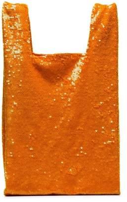Ashish orange Sequin Nylon Tote Bag